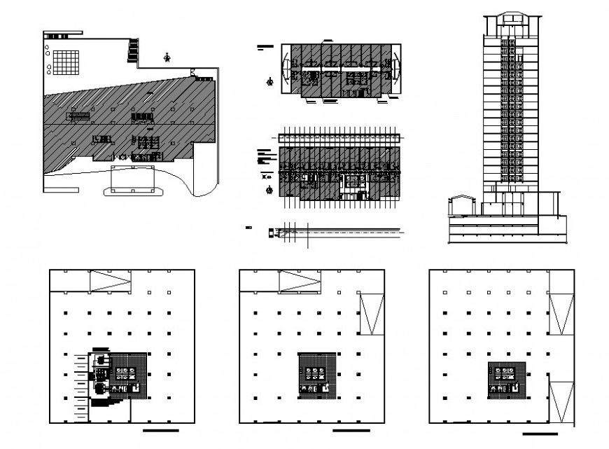Multi-story five star hotel main elevation, air condition installation and structure details dwg file