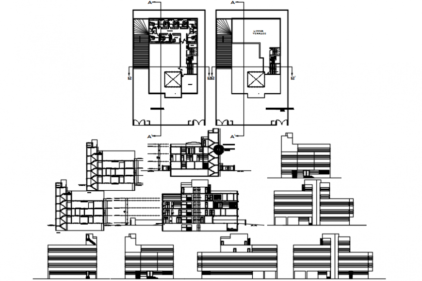 Multi-story general hospital elevation, section and floor plan cad drawing details dwg file