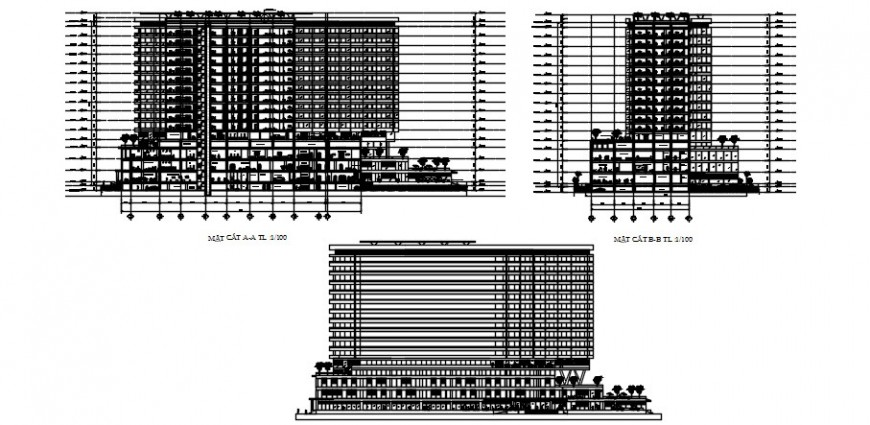 Multi-story high rise building elevation detail in autocad