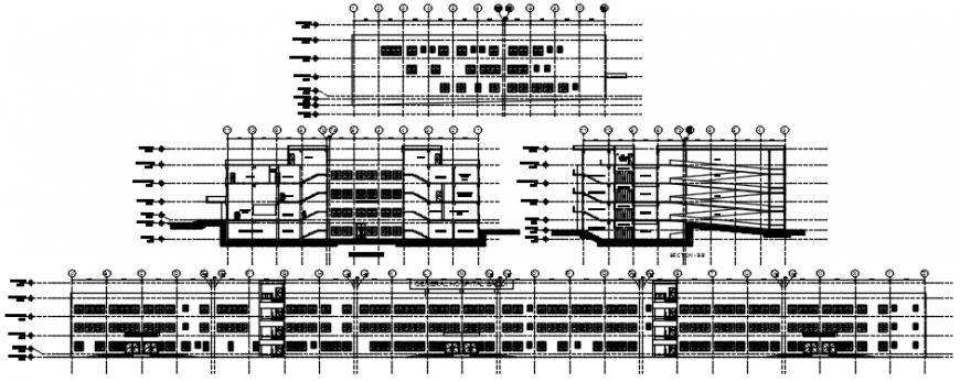 Multi-story hospital all sided elevation and section drawing details dwg file