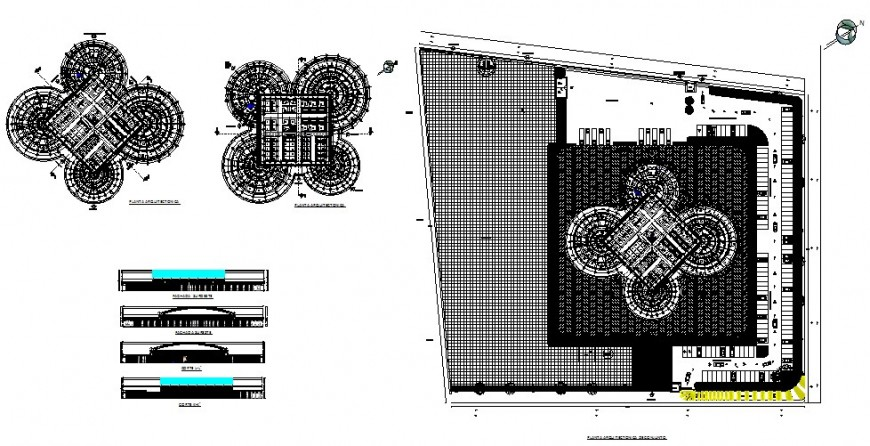 Multi-story hospital building elevation, section, plan and floor plan details dwg file