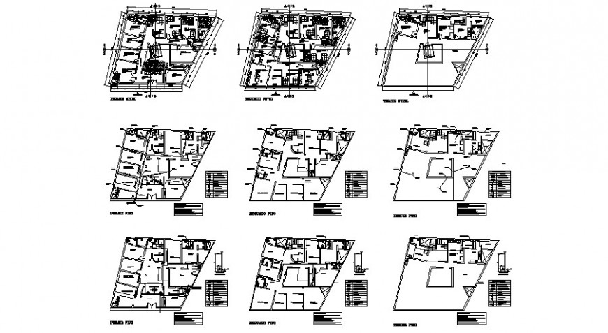 Multi-story hospital building floor plan distribution cad drawing details dwg file