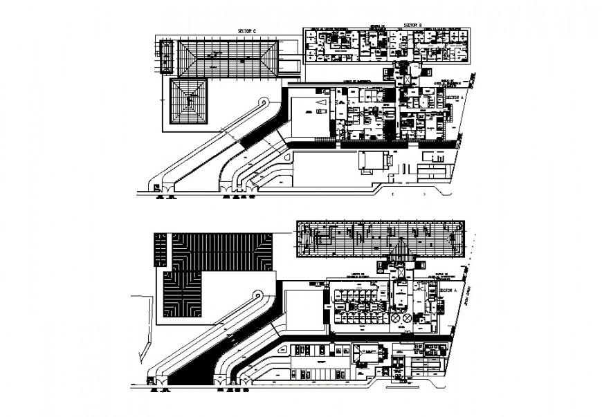 Multi-story hospital floor plan cad drawing details dwg file