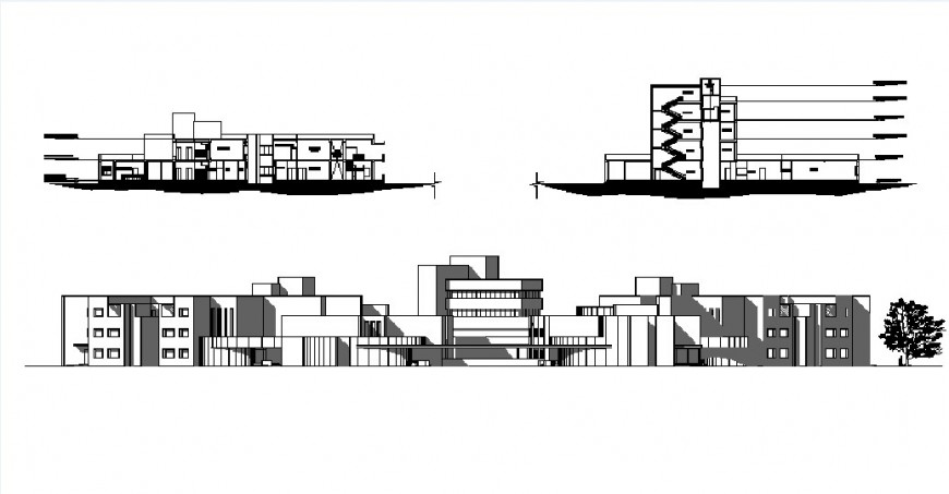 Multi-story hospital main elevation and both sided section drawing details dwg file