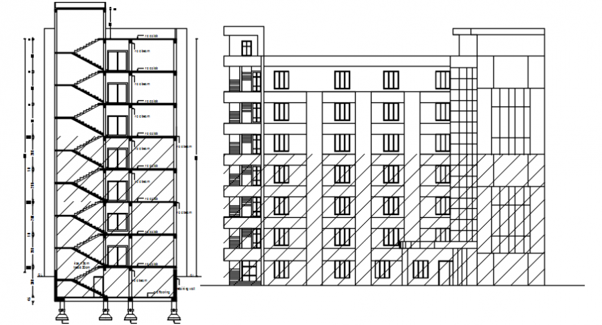 Multi-story hospital main elevation and side section drawing details dwg file