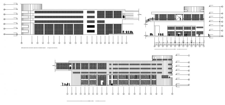 Multi-story hotel building all sided elevation drawing details dwg file