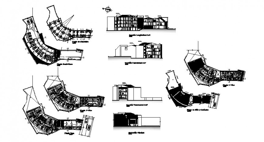 Multi-story hotel building elevation, section and floor plan distribution cad drawing details dwg file