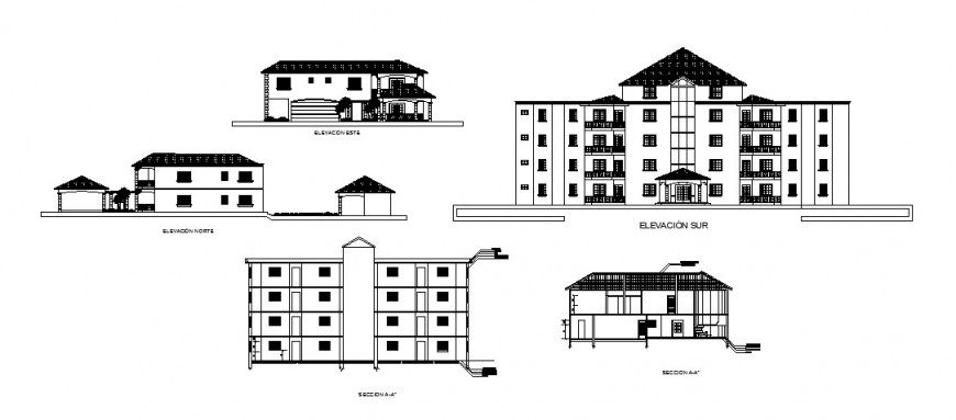 Multi-story hotel building elevation and section cad drawing details dwg file