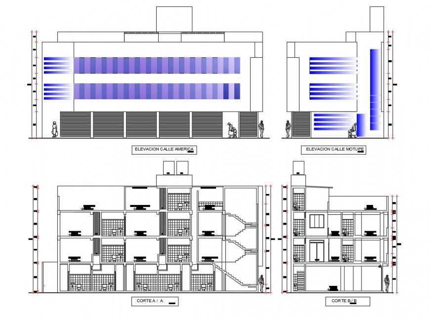 Multi-story hotel building facade and side elevation and sectional details dwg file