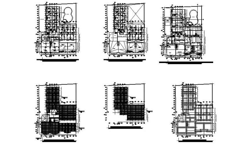 Multi-story hotel building floor plan and auto-cad details dwg file