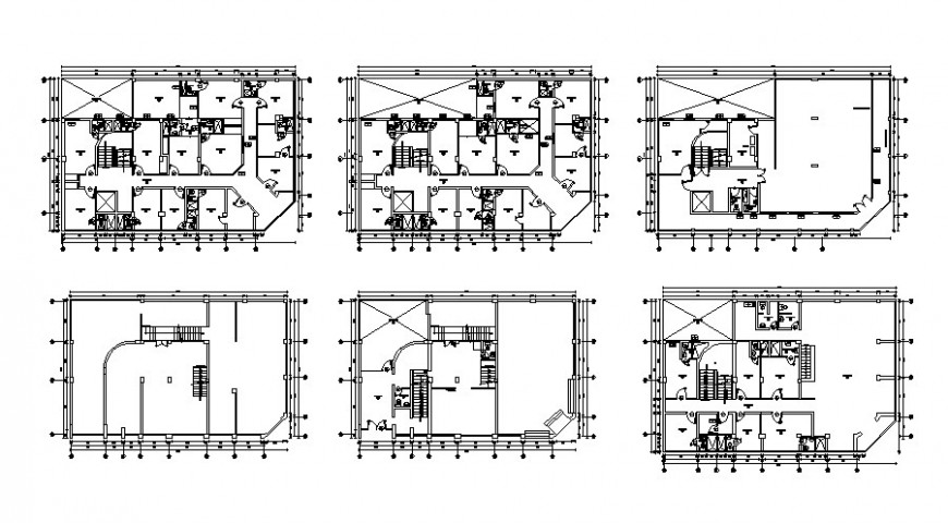 Multi-story hotel building floor plan layout details with sanitary dwg file