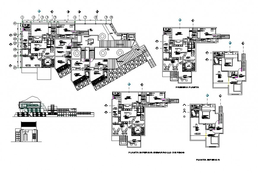 Multi-story hotel building four star elevation, section and floor plan cad drawing details dwg file