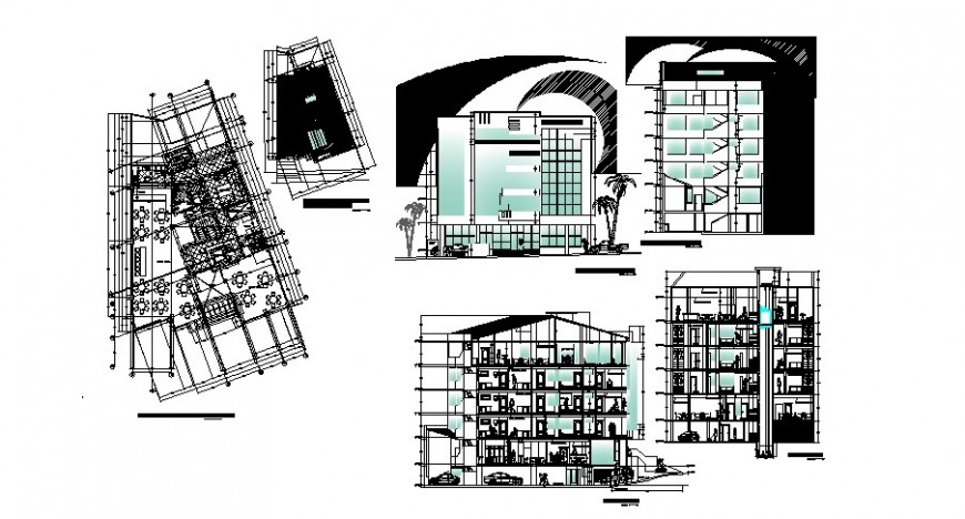 Multi-story hotel building front and back elevation, section and layout plan details dwg file