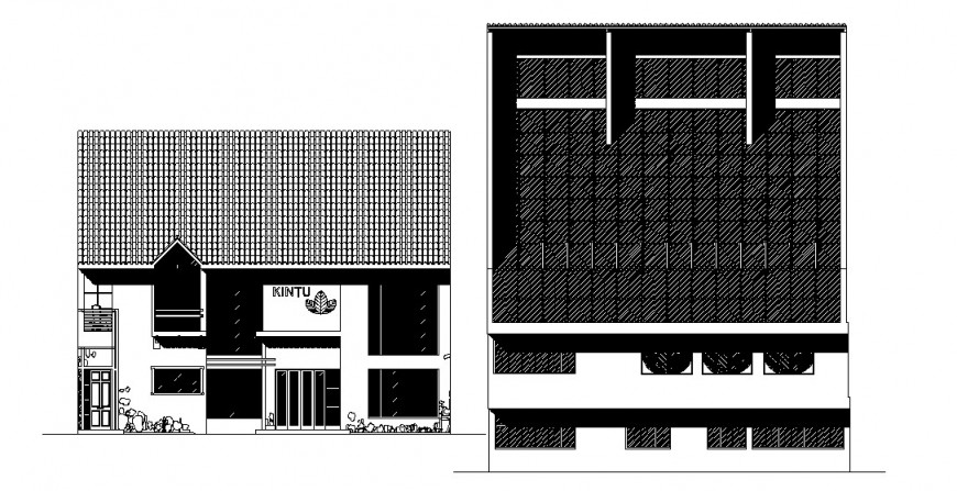 Multi-story hotel building main and back elevation cad drawing details dwg file