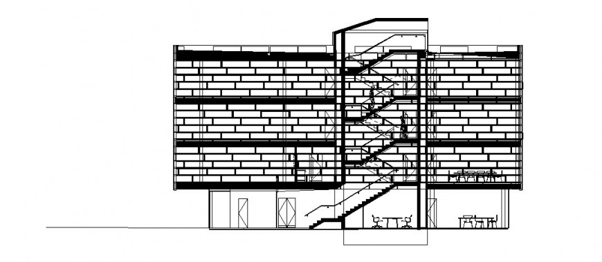 Multi-story hotel building main section cad drawing details dwg file