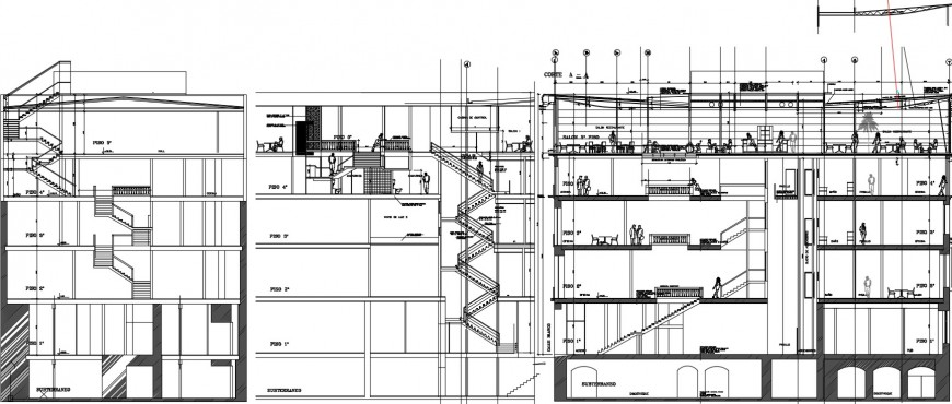 Multi-story hotel building with bar terrace sections cad drawing details dwg file