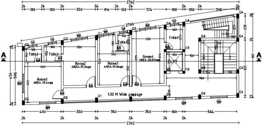 Multi-story hotel floor layout plan cad drawing details dwg file