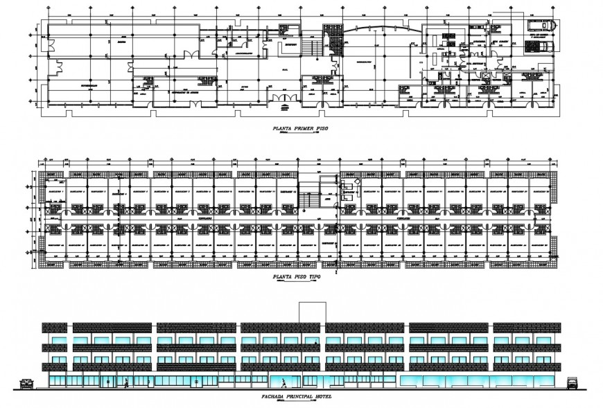 Multi-story hotel main elevation and first and second floor plan cad drawing details dwg file