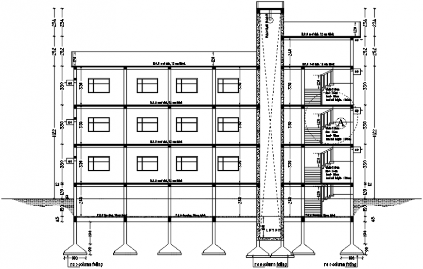 Multi-story hotel with bar main constructive section drawing details dwg file