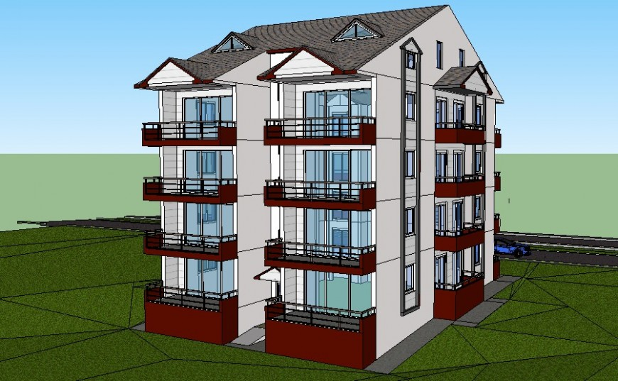 Multi-story housing apartment drawings 3d model sketch-up file