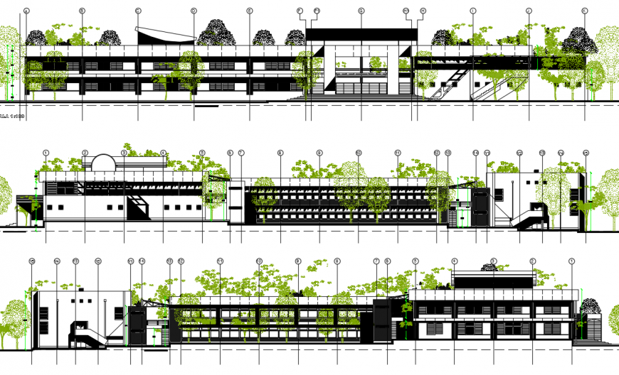 Multi-story law college building all sided elevation drawing detail dwg file