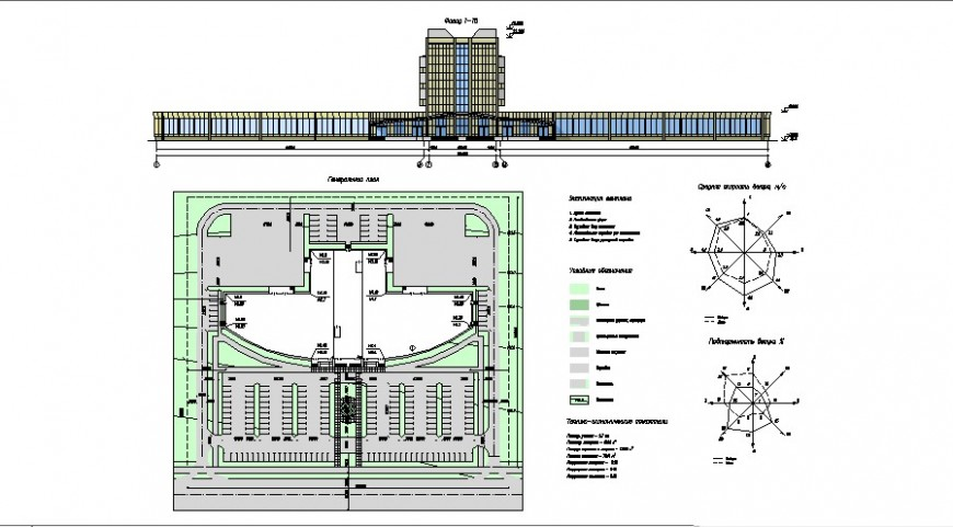 Multi-story luxuries hotel building main elevation, site plan and auto-cad details dwg file