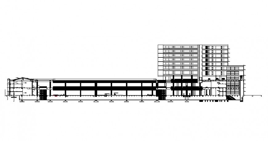 Multi-story luxuries hotel building main section cad drawing details dwg file