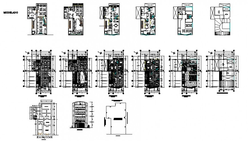 Multi-story luxuries hotel floor plan distribution auto-cad drawing details dwg file