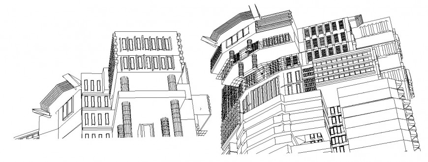 Multi-story luxuries hotel isometric elevation cad drawing details dwg file