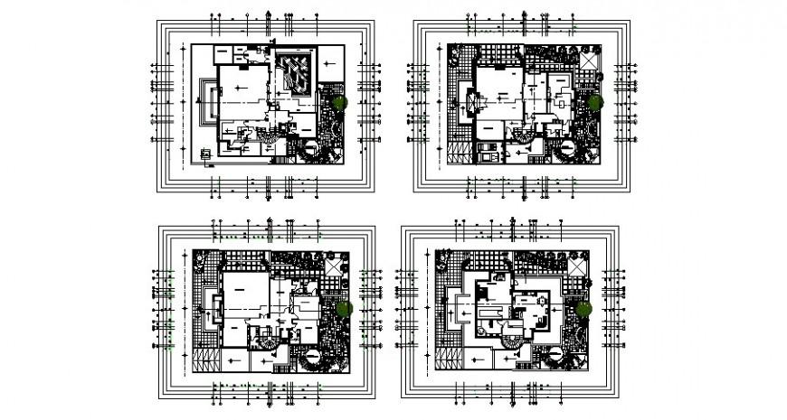 Multi-story luxuries villa floor plan distribution plan cad drawing details dwg file