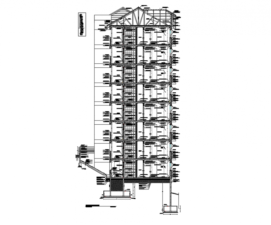 Multi-story office building constructive front sectional details dwg file