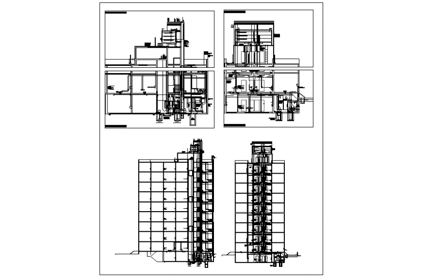Multi-story office building section and sanitary installation details dwg file