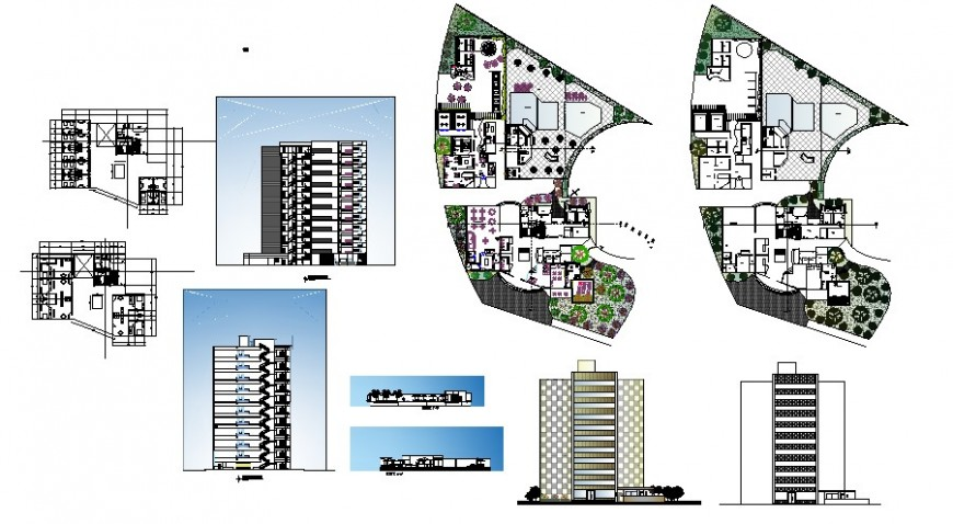 Multi-story office tower building all sided elevation and floor plan drawing details dwg file
