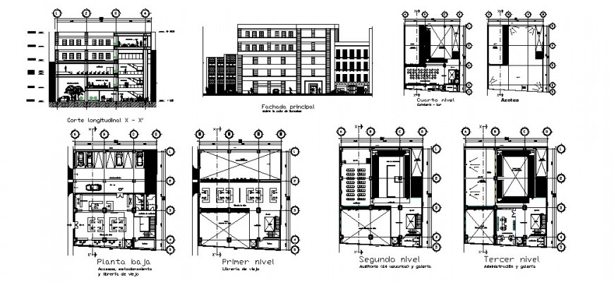 Multi-story old books selling store building elevation, section and plan cad drawing details dwg file