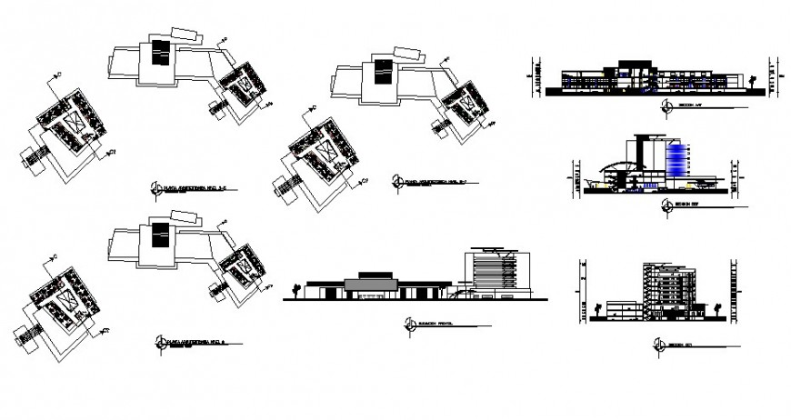 Multi-story plaza hotel building elevation, section, floor plan and auto-cad details dwg file