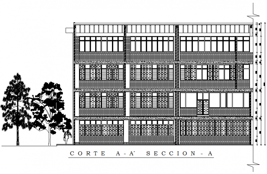 Multi-story primary school back elevation cad drawing details dwg file