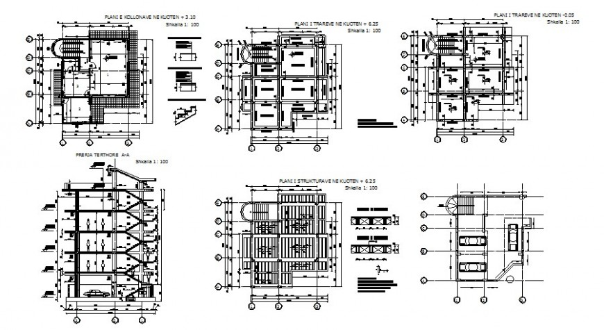 Multi-story residential apartment building elevation, section and floor plan details dwg file