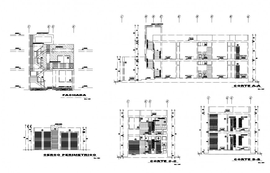 Multi-story residential building elevation, section and fence cad drawing details dwg file
