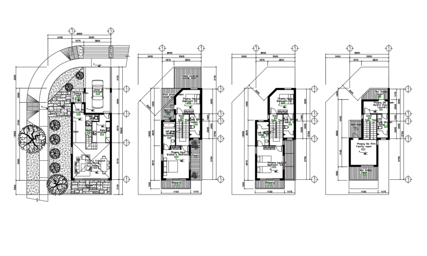 Multi-story residential bungalow floor plan distribution cad drawing details dwg file