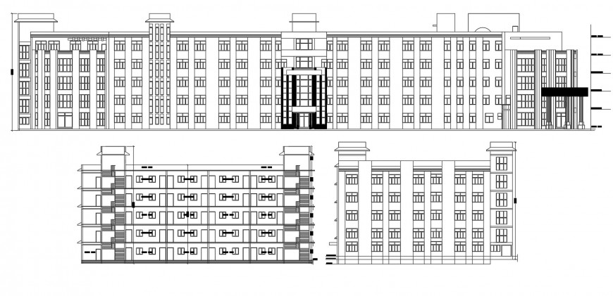 Multi-story school all sided elevation cad drawing details dwg file