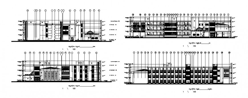 Multi-story school building all sided elevation cad drawing details dwg file