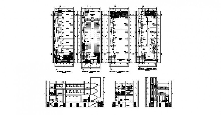 Multi-story school building elevation, section and floor plan cad drawing details dwg file