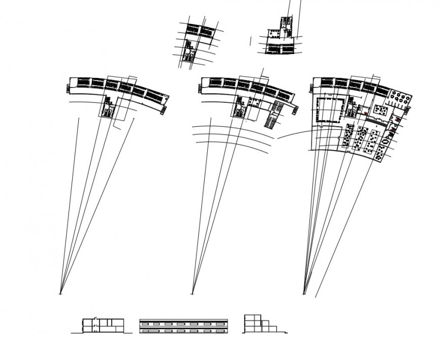 Multi-story school building elevation and floor plan details dwg file
