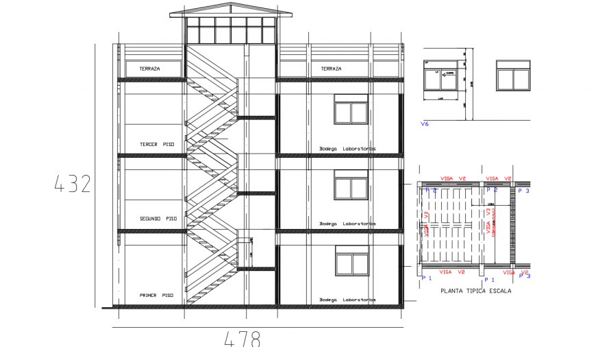 Multi-story school building front sectional drawing details dwg file