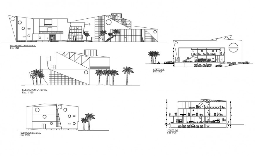 Multi-story theater all sided elevation and section cad drawing details dwg file