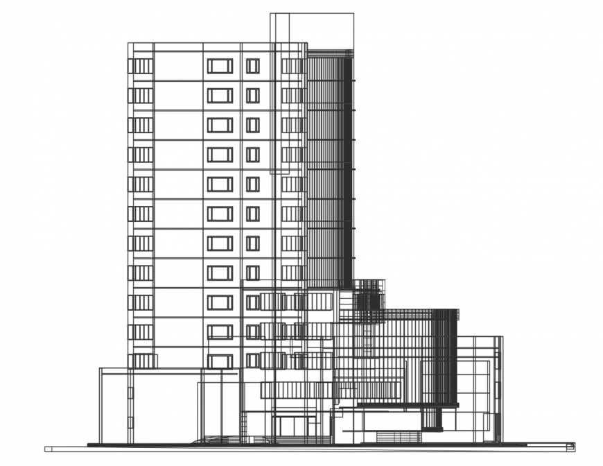Multi-story three star hotel building elevation cad drawing details dwg file