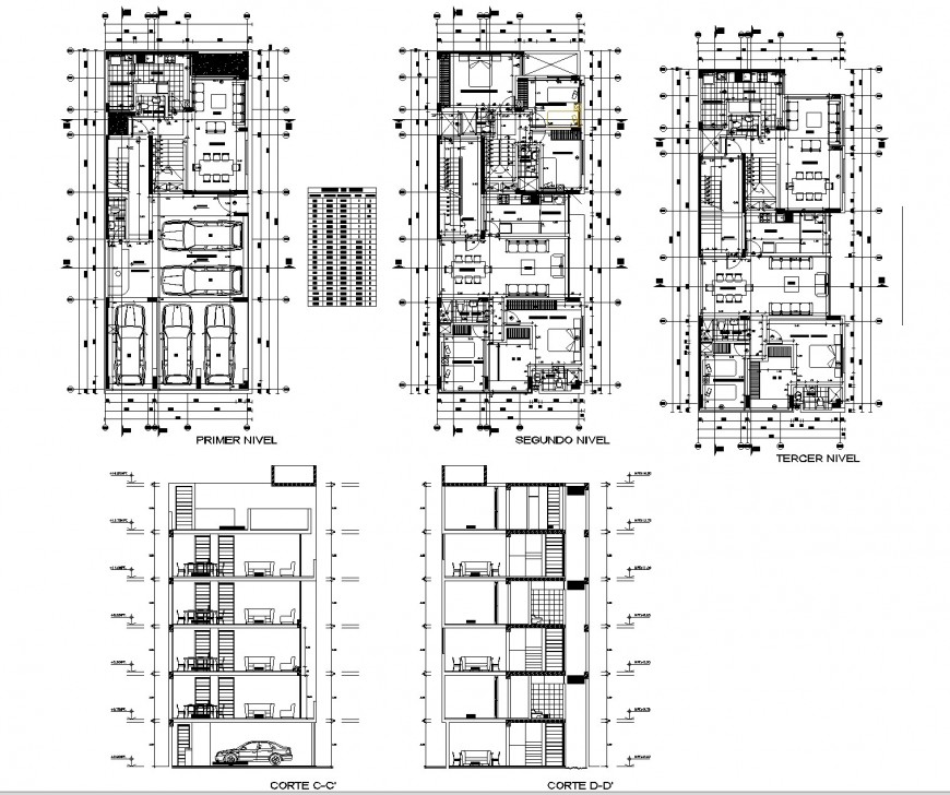 Multi building house plan and section autocad file