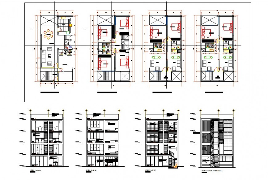 Multi family housing elevation and plan