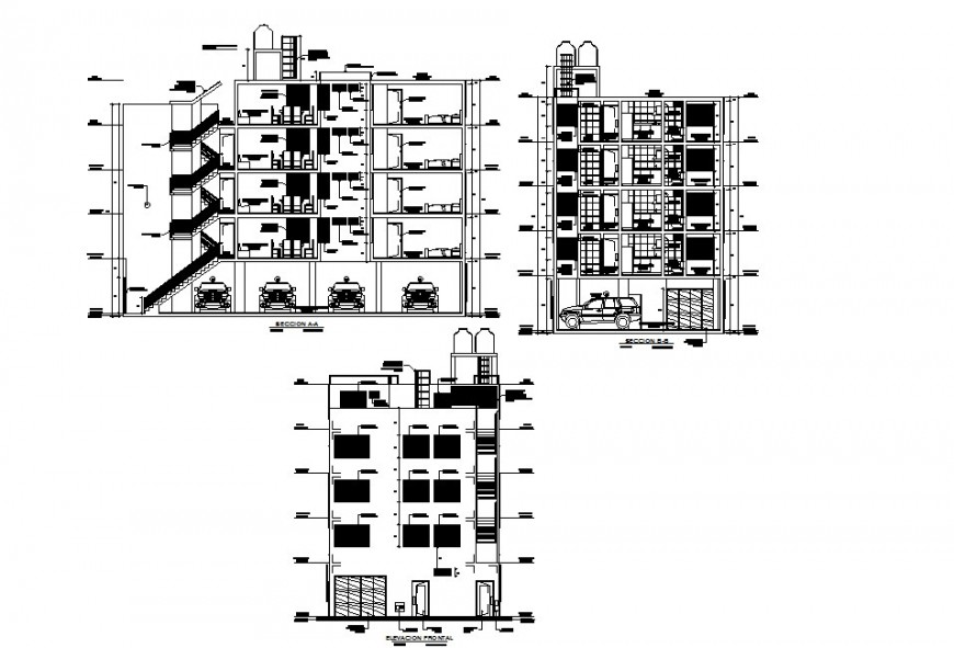 Multi family housing layout plan dwg file