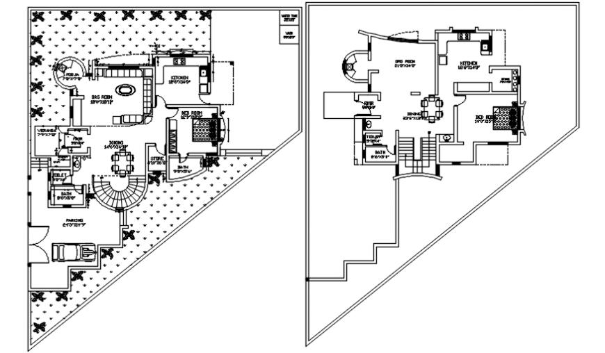 Multi floor architecture layout plan details 2d